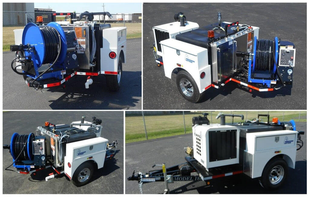 Model 184 Trailer Jetter, pulsations system, full fenders, full function remote control system and dual painted toolboxes
