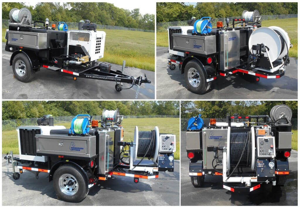 Model 184 Trailer Jetter, Full function Wireless remote control system, standard round fenders, twin aluminum toolboxes, pulsation system, small diameter draining and cleaning kit