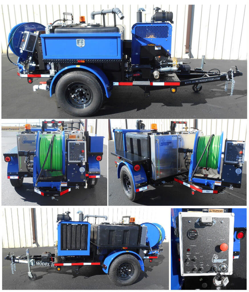 Model 184 Trailer Jetter, 300 Gallon water tank, single toolbox, pulsation system, standard round fenders