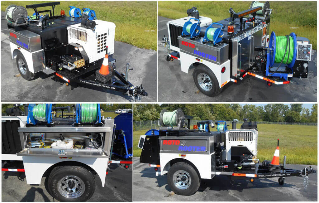 Model 184 Trailer Jetter, full function wireless remote control system, full fenders, twin aluminum toolboxes, pulsation system, two small diameter drain cleaning kits with reels