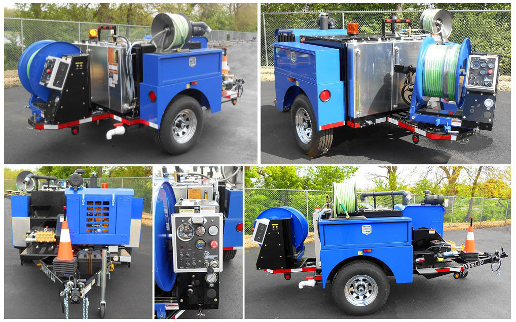 Model 184 Trailer Jetter 300 gallon water tank, wireless remote control system, two tone custom paint